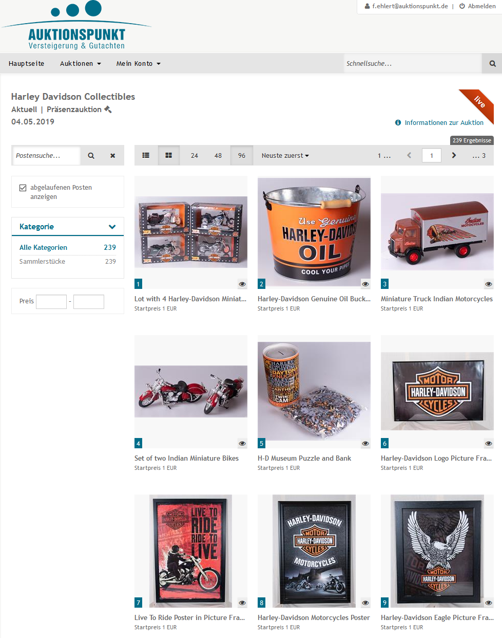 Auction Portal for Harley-Advidson Auction